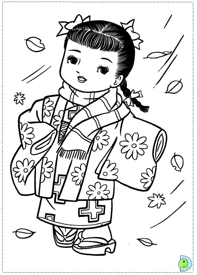 Japanese girl drawing at free for for Printable japanese coloring pages