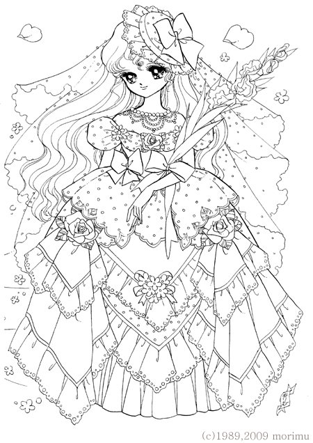 450x636 Japan. Dream Girl. Lace Dress. Free Coloring Page Adult