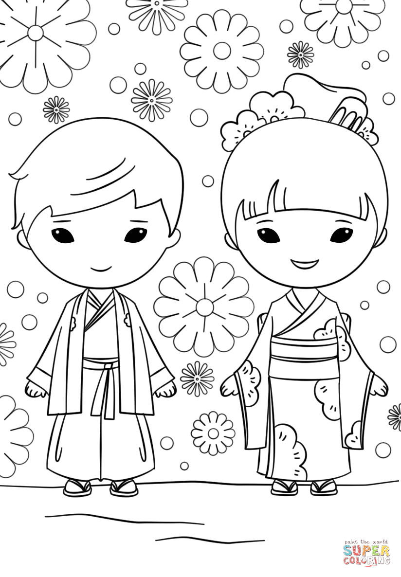 824x1186 Japanese Boy And Girl Coloring Page Free Printable Coloring Pages