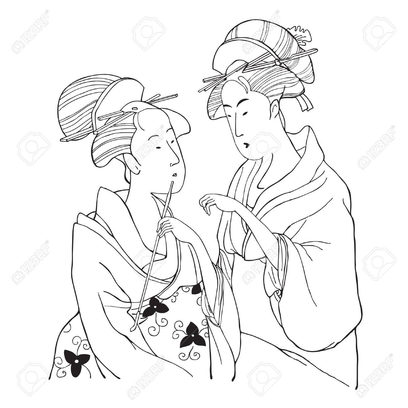 1300x1300 Two Japanese Girls. Illustration Royalty Free Cliparts, Vectors