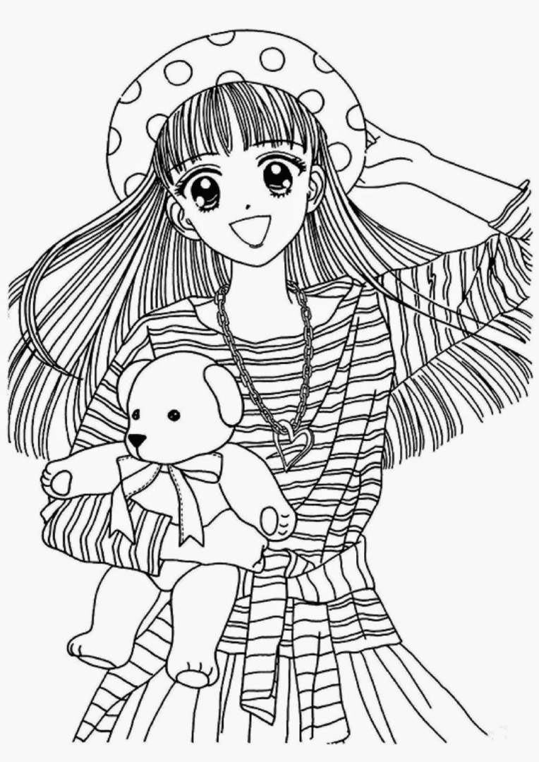 764x1080 Japanese Anime Coloring Pages For Girls Just Colorings