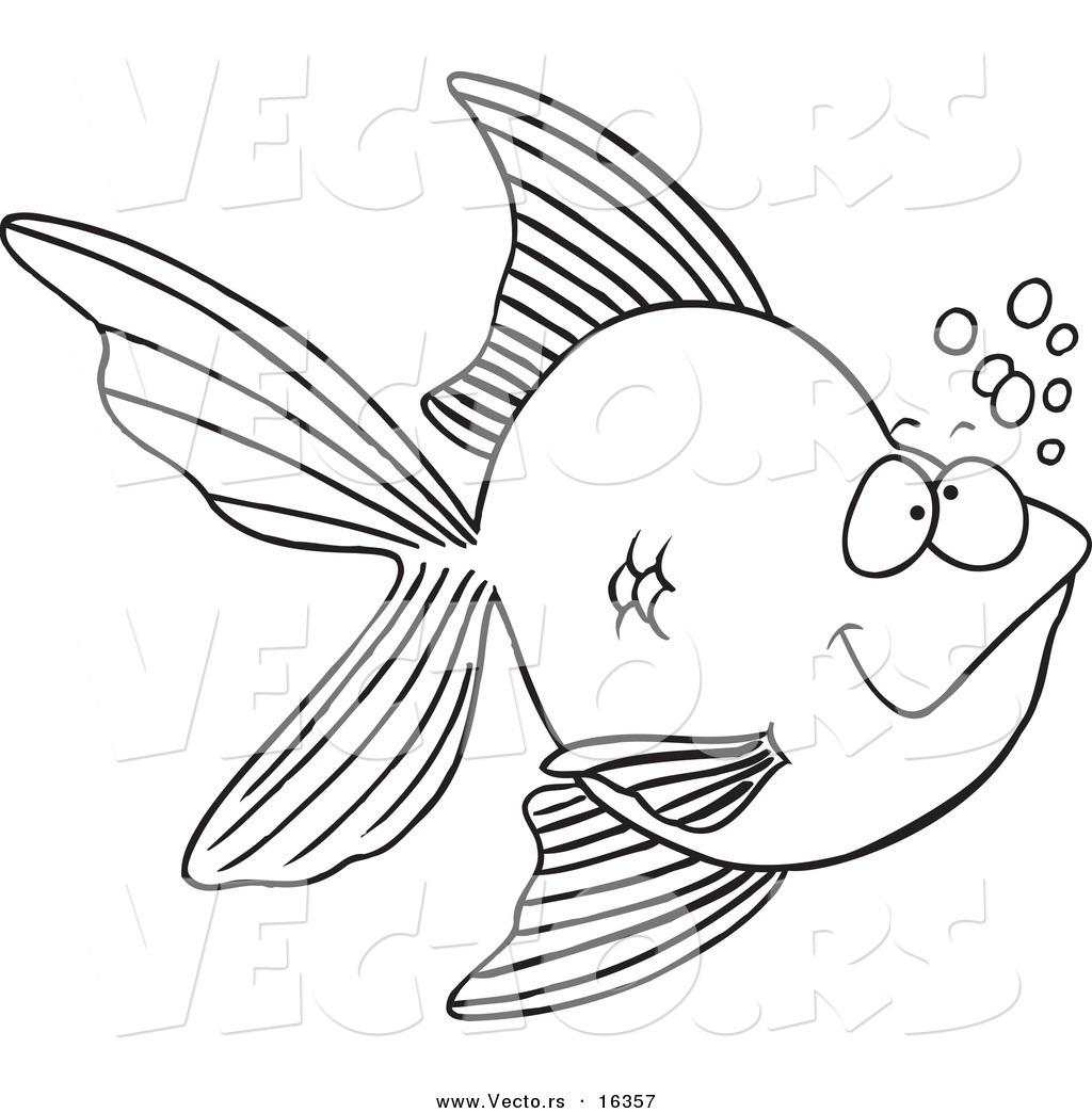 1024x1044 Vector Of A Cartoon Goldfish With Bubbles