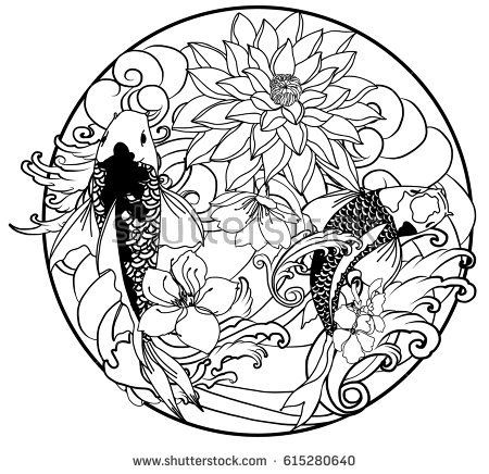 450x436 Hand Drawn Outline Koi Fish Tattoo With Flower In Circle ,japanese