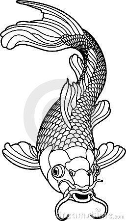 257x450 Koi Goldfish Black And White Drawing