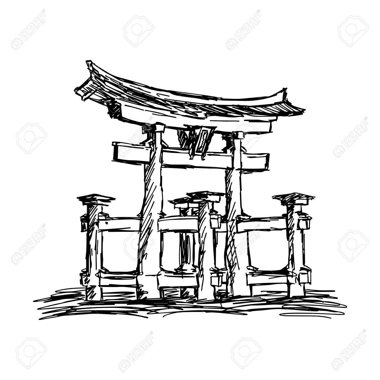 1300x1300 Illustration Vector Doodle Hand Drawn Of Sketch Itsukushima Shrine