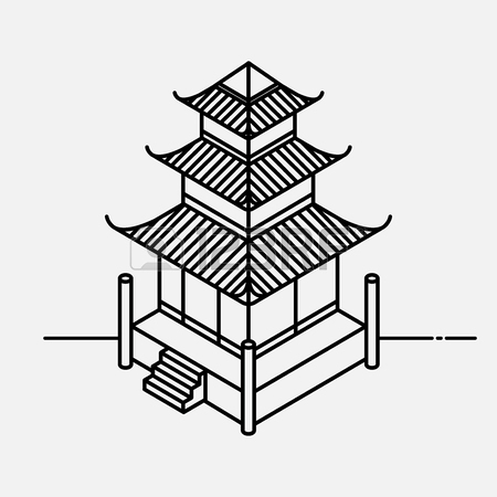 450x450 Architecture Element In Oriental Style. Outline Isometric Pagoda