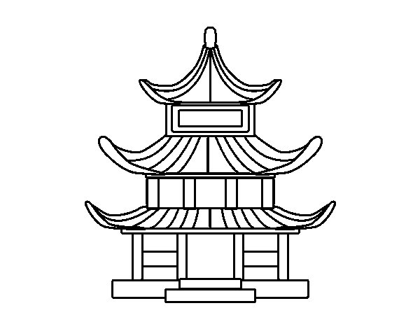 600x470 Traditional Japanese House Coloring Page