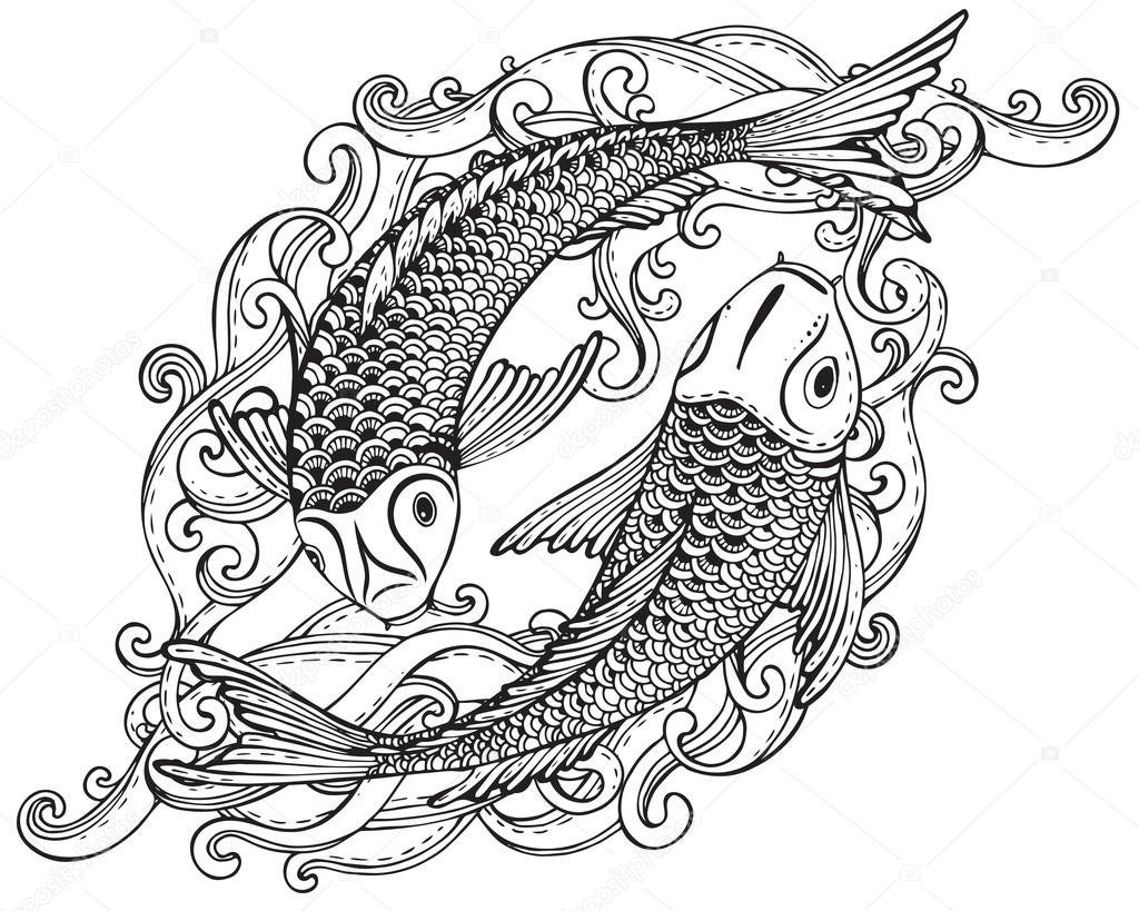1024x819 Hand Drawn Vector Illustration Of Two Koi Fishes (Japanese Carp
