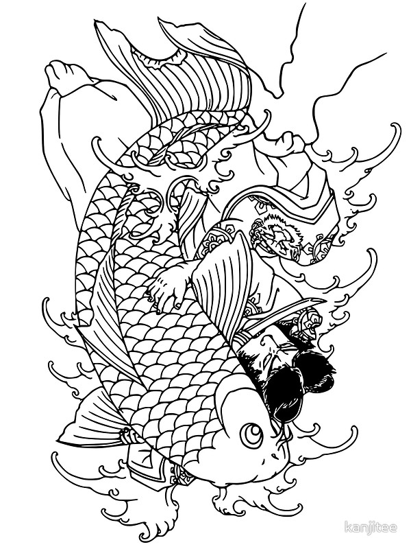 600x800 Japanese Warrior And Koi Stickers By Kanjitee Redbubble