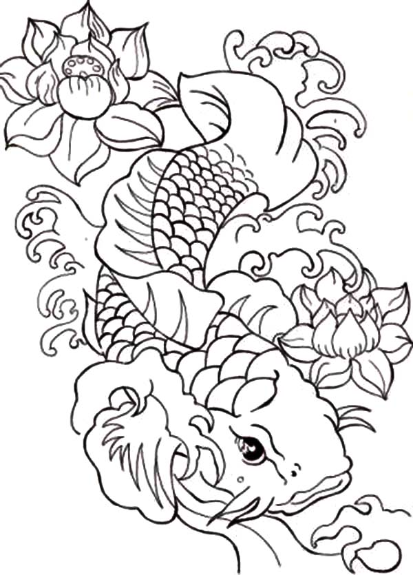 600x835 Koi Fish Coloring Pages