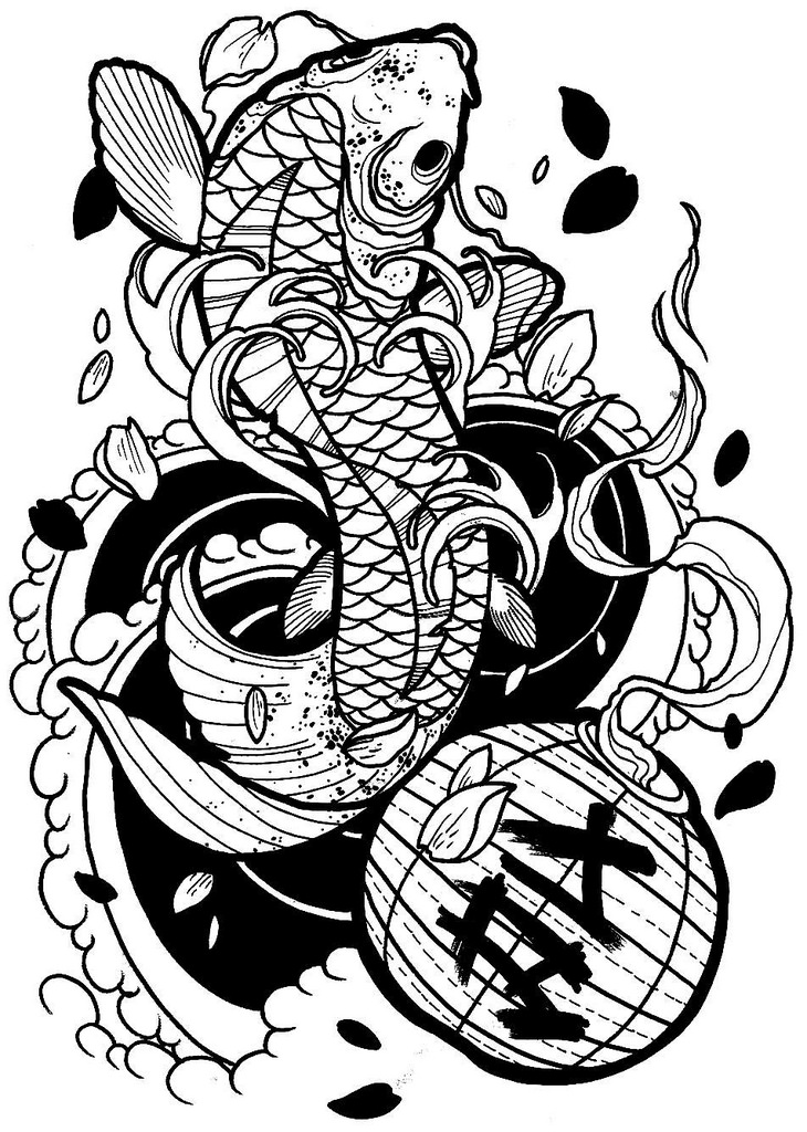 730x1024 Japanese Koi, Tattoo Drawing ( Outline ) ( Ronnie Hicks )