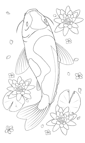 298x500 Drawn Koi Carp Line Drawing