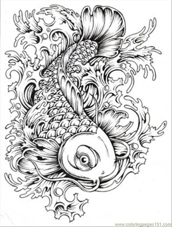 564x743 Homely Design Koi Fish Coloring Page Japanese Koi Fish