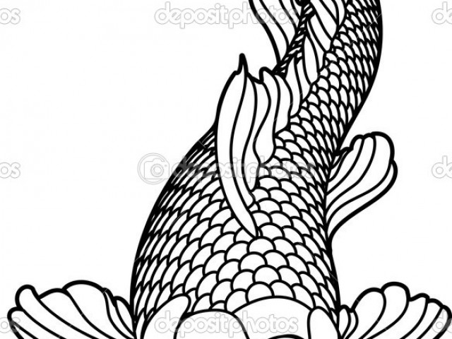 640x480 Koi Fish Coloring Page Group (57+)