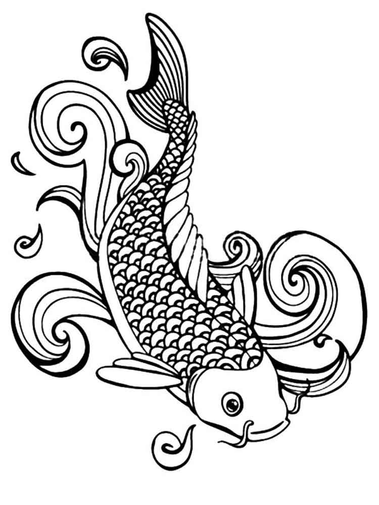 750x1000 Koi Fish Coloring Pages For Adults Free Printable On Hand Drawn