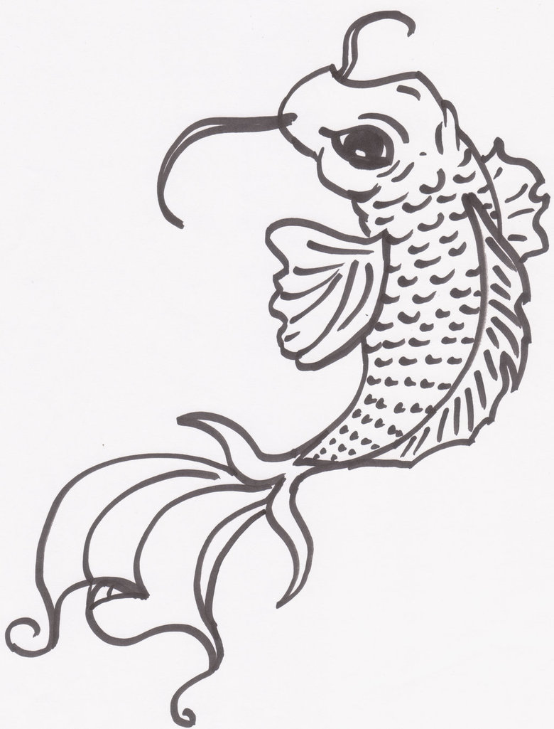 780x1025 Koi Fish Drawing By Rearrabbit