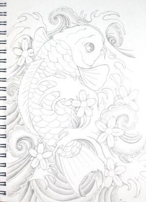 300x413 Make Mood Tattoo Koi Fish Tattoo Design
