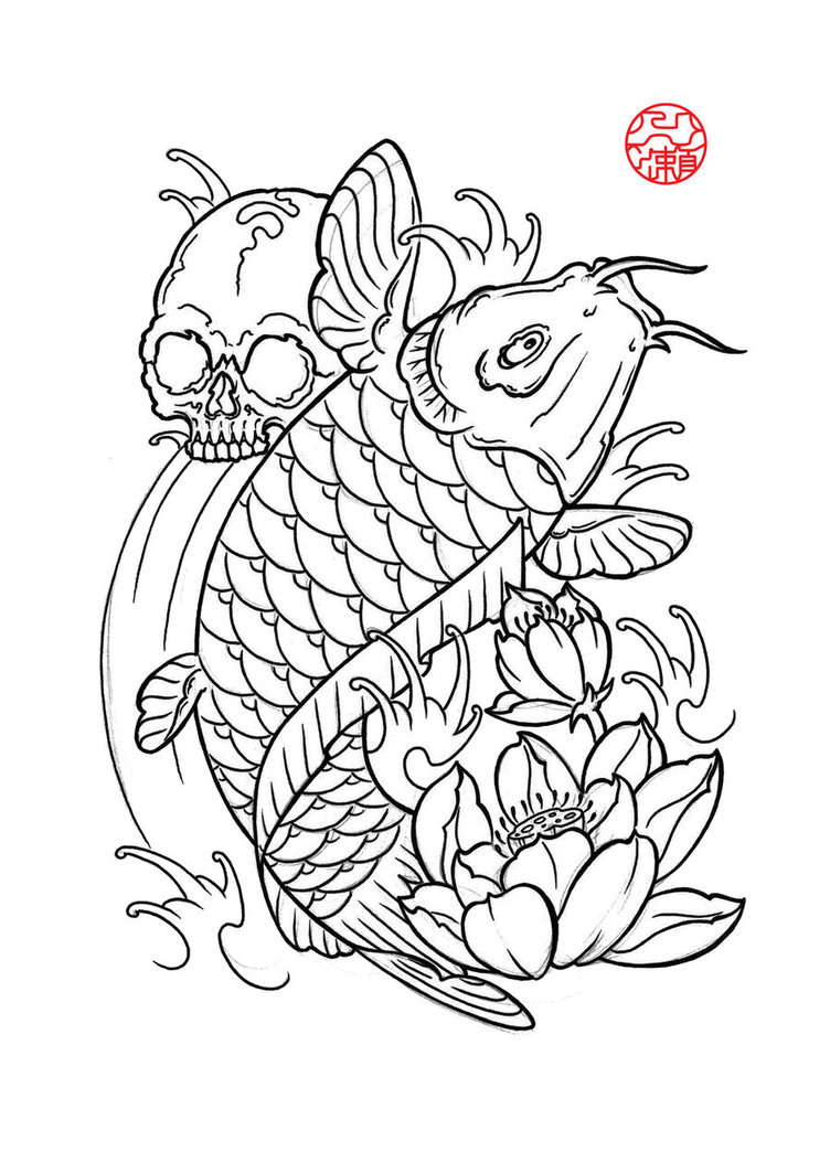 752x1063 Hand Drawn Dragon And Koi Fish With Flower Tattoo For Arm Japanese