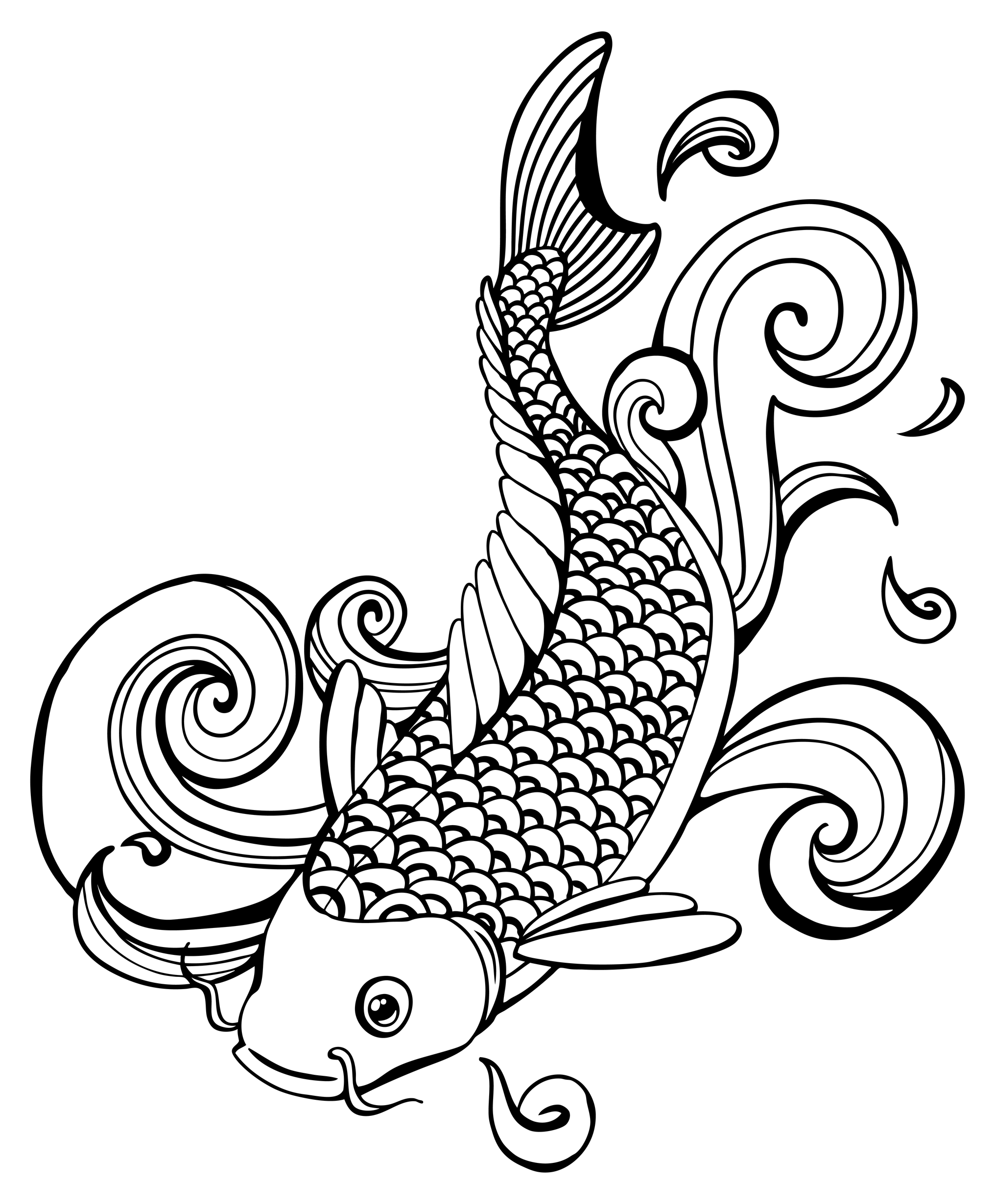 2032x2460 Amazing Koi Fish Tattoo Design