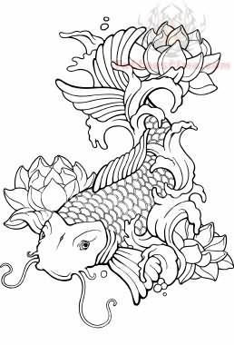 258x380 Asian Koi Fish Tattoo Design