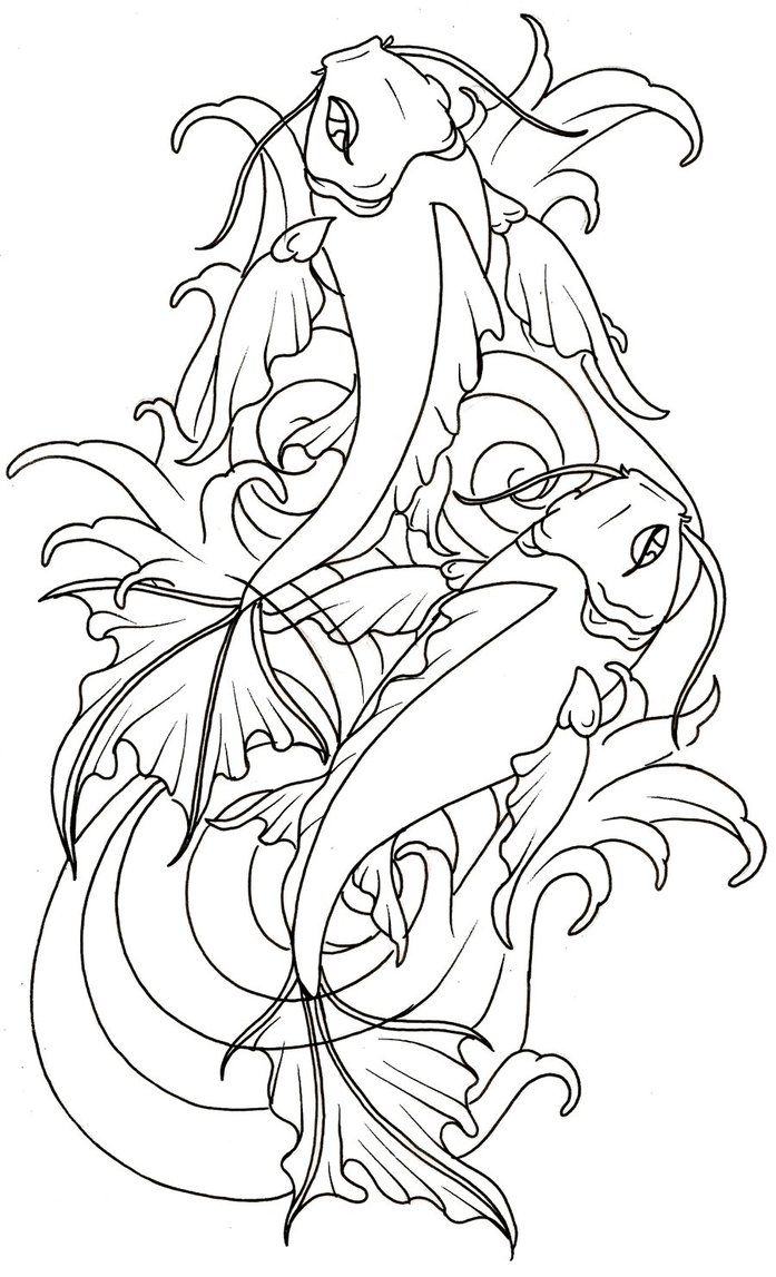 697x1147 Collection Of Kids Coloring Pages Of A Koi Fish Tattoo Design
