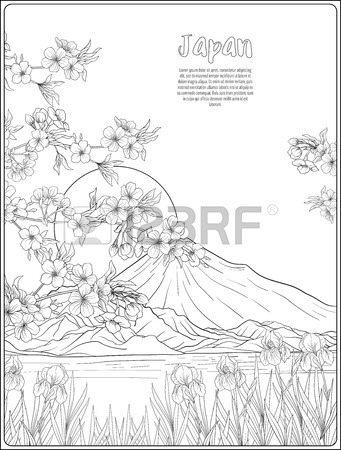 341x450 Japanese Landscape With Mount Fuji, Sea, And Japanese Woman Kimo