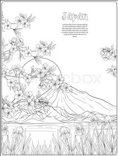242x320 Japanese Landscape With Mount Fujind Tradition Flowersnd