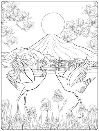 341x450 Japanese Landscape With Mount Fuji And Tradition Flowers And A B
