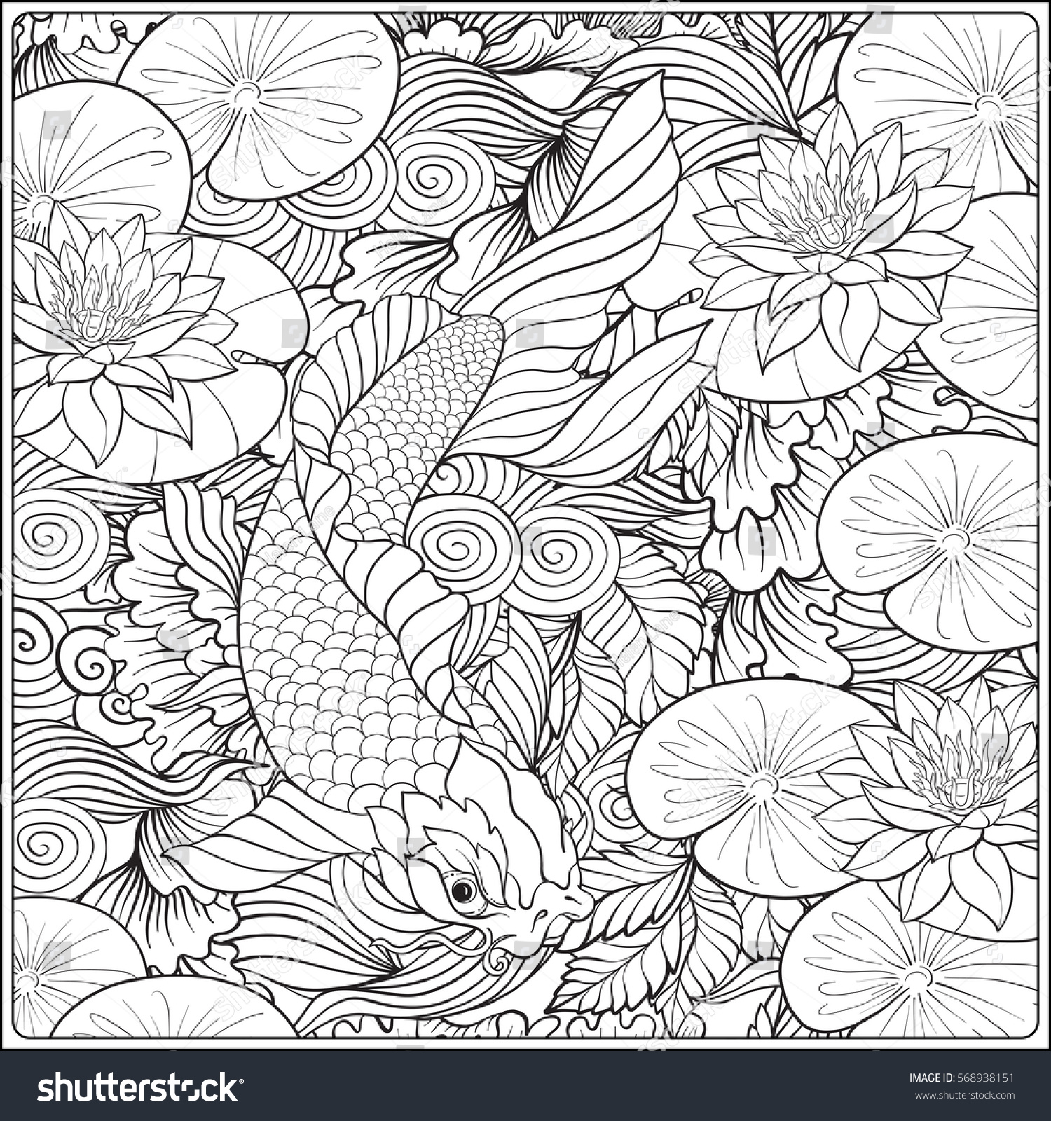1500x1600 Japanese Landscape With Lotus And Fish. Outline Drawing Coloring