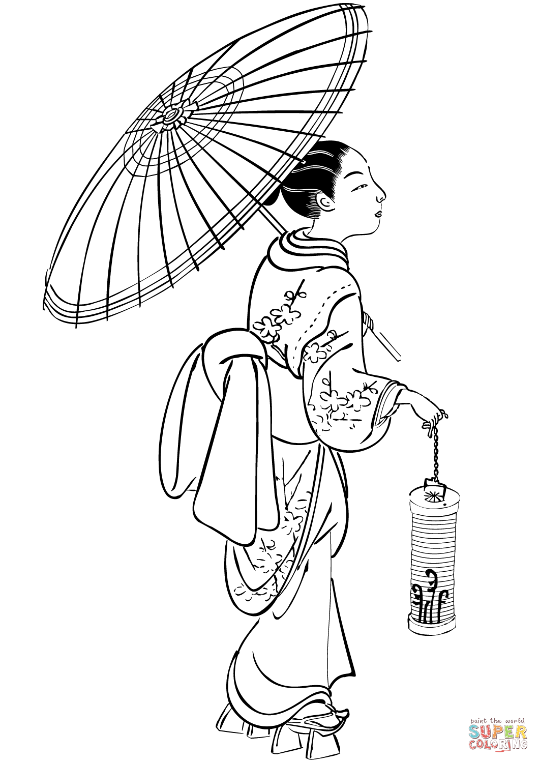 1060x1500 Japanese Woman With Umbrella And Lantern Coloring Page Free