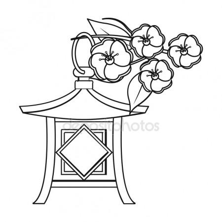 450x450 Japanese Lantern Icon In Outline Style Isolated On White