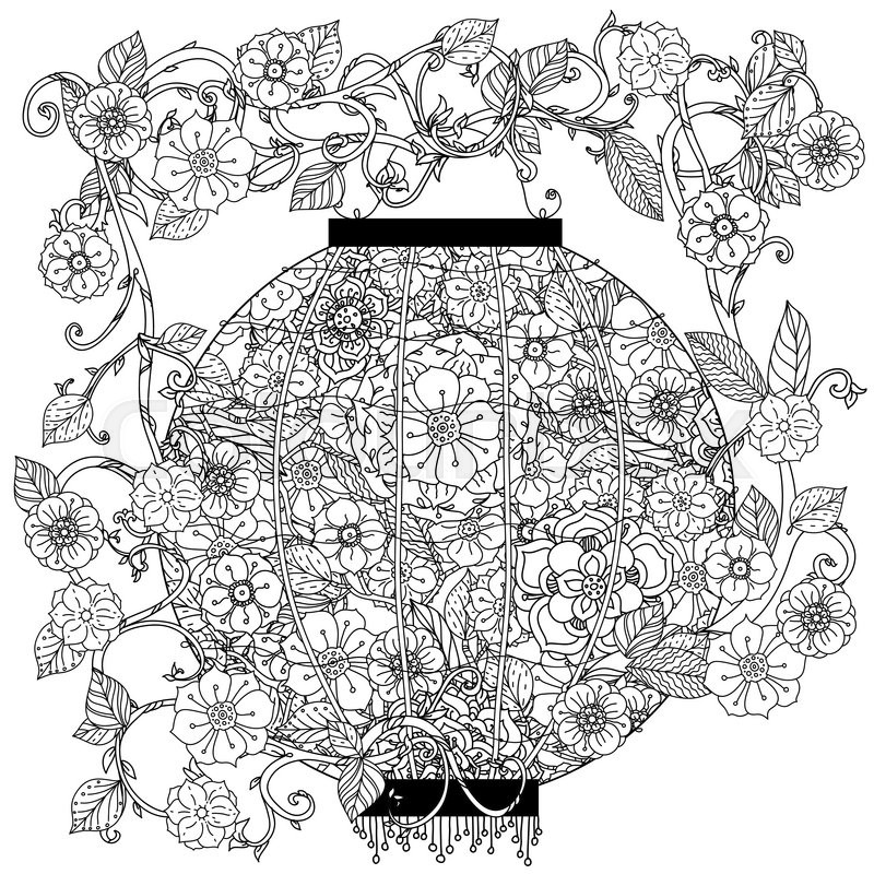 800x800 Oriental Lantern Decorated By Floral Patterns For Adult Coloring