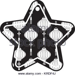 312x320 Star Tag Japanese Lantern Decoration Pattern Stock Vector Art