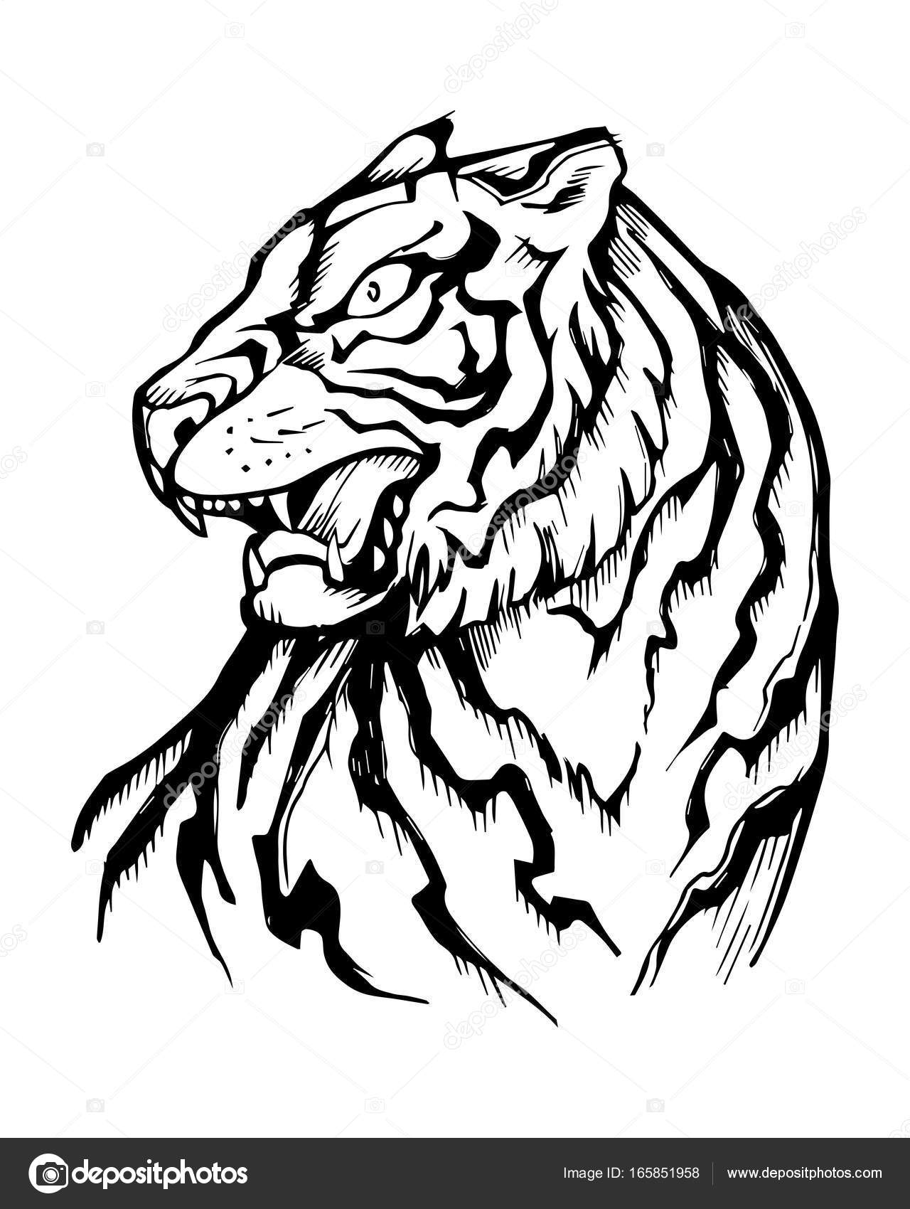 1280x1700 Hand Drawn Japanese Traditional Tiger Stock Vector Bernardojbp