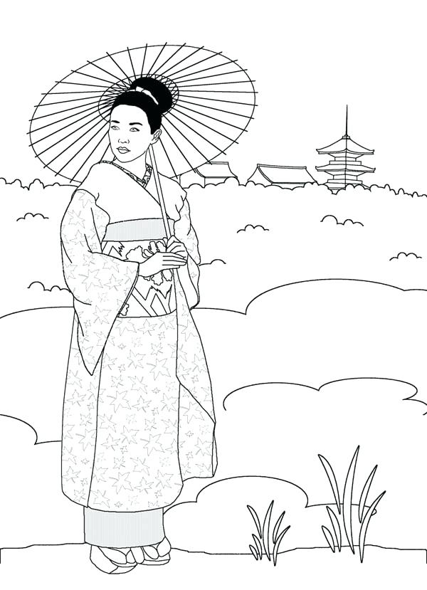 600x829 Japan Coloring Page Geisha In Japan Land Coloring Page Free