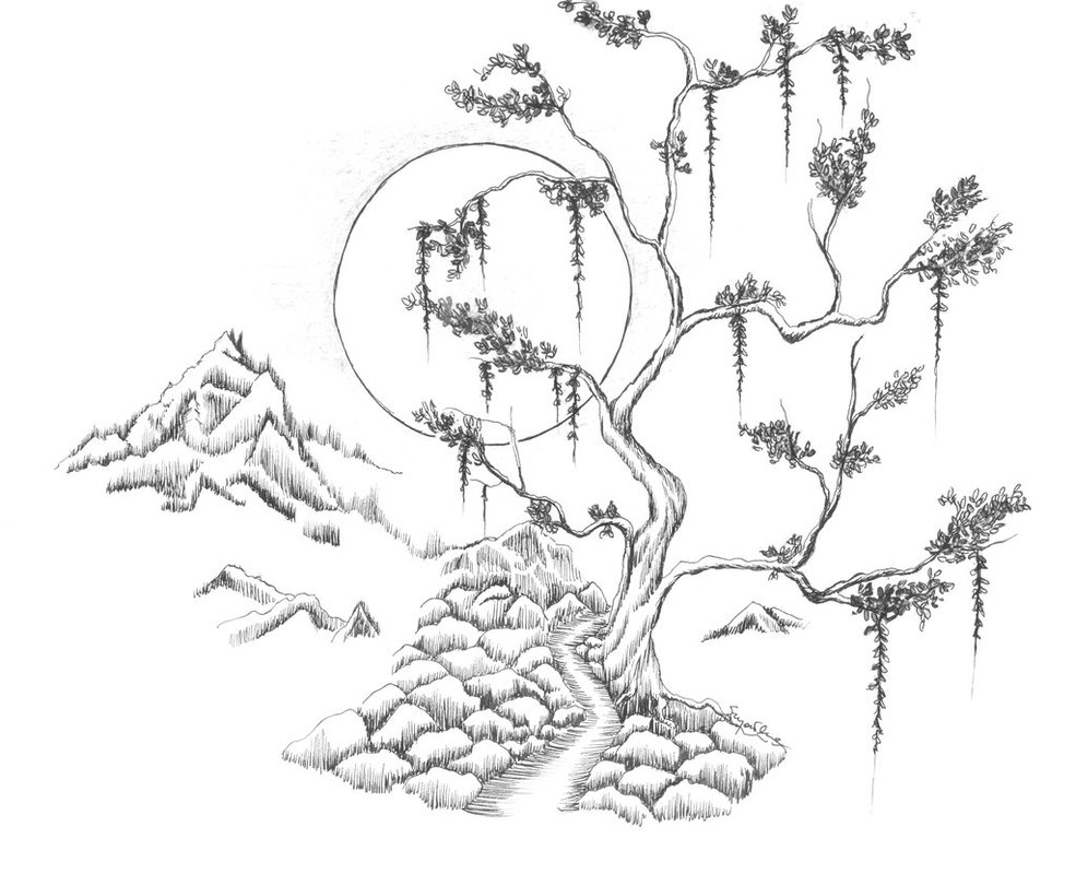 985x811 Japanese Landscape By Doris1991 On , Line Drawings