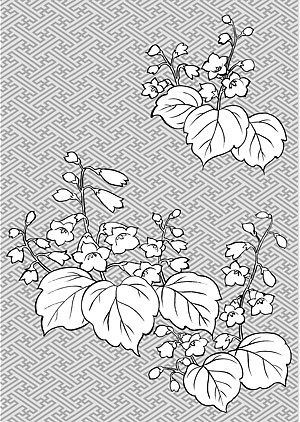 300x422 Japanese Line Drawing Plant Flower Vector Material (Tung