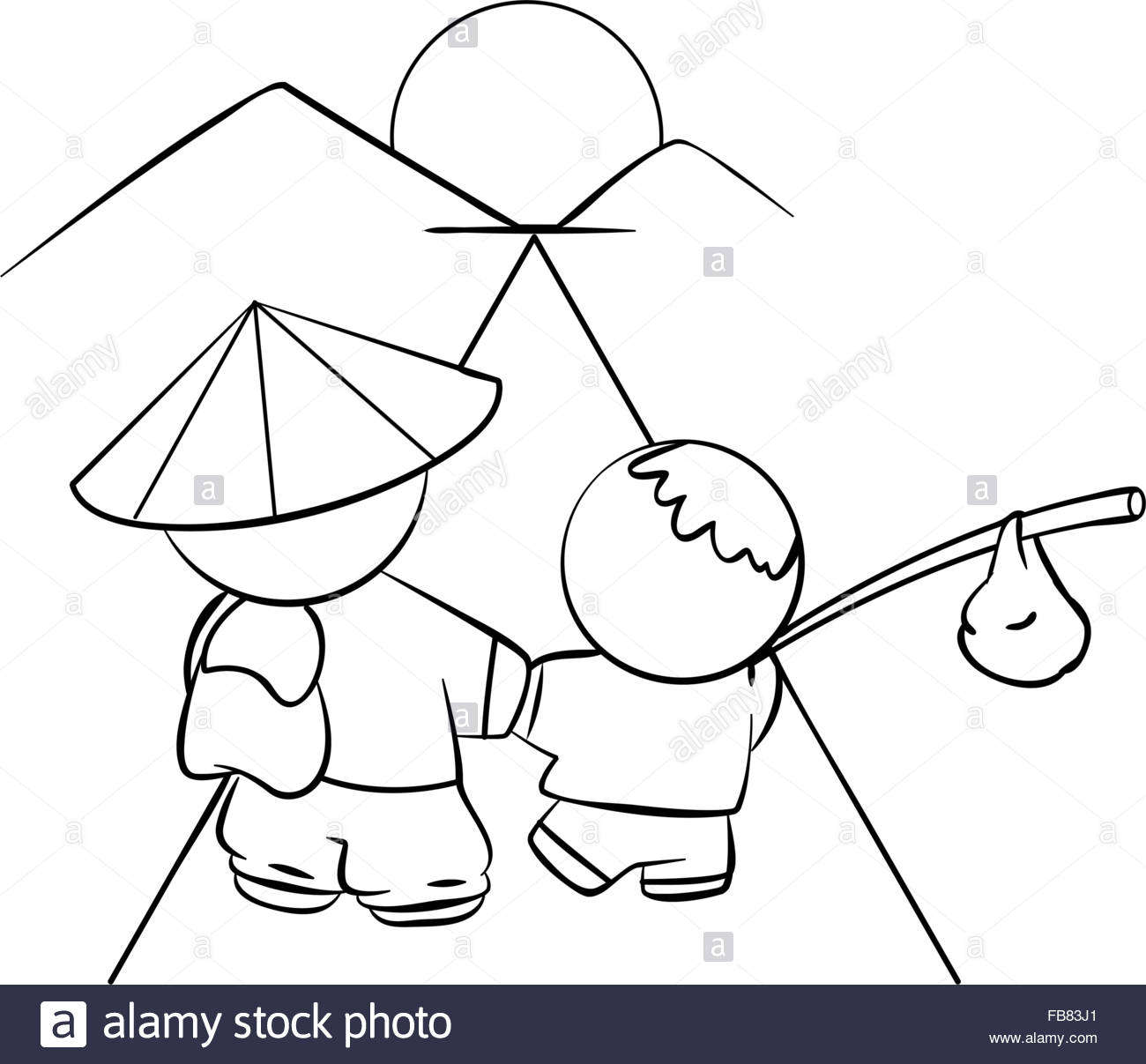 1300x1207 Line Drawing Of Japanese Father And Sun Walking Off Into