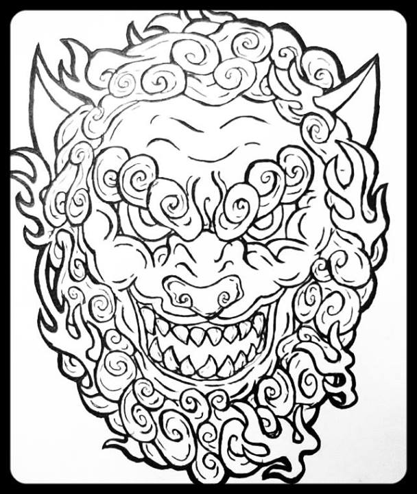 608x720 Shisa Japanese Lion (Line Art) By Raphturetarts