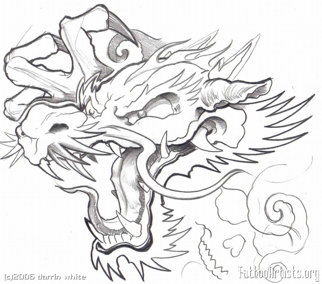 1024x903 Collection Of Outline Japanese Dragon Tattoo Design For Men