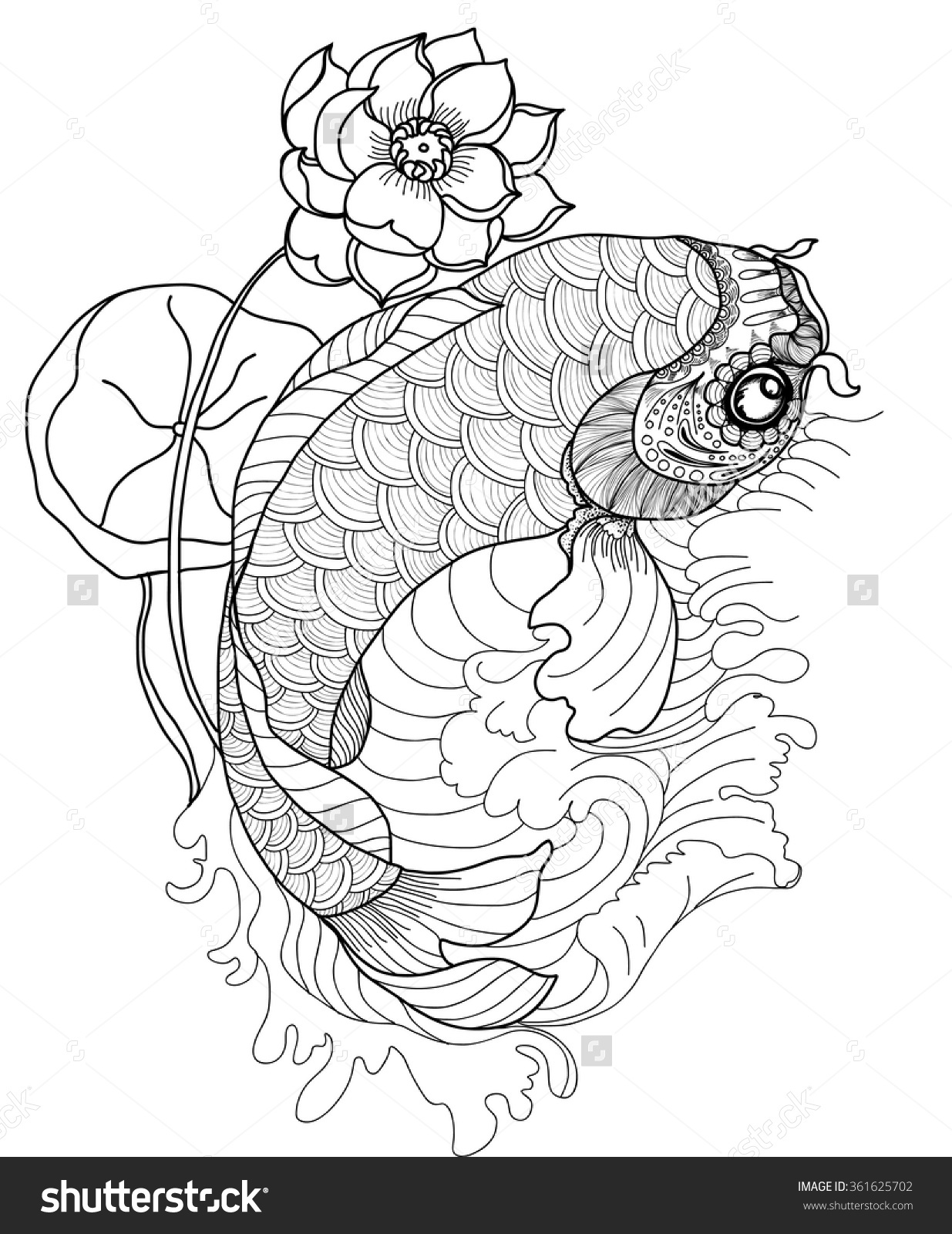 1235x1600 Hand Drawn Koi Fish In Circle,gold Japanese Carp Line Drawing