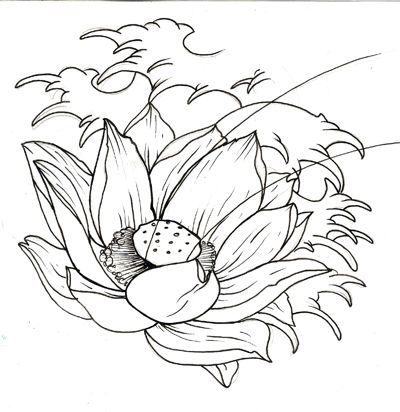 400x412 Cool Black Outline Japanese Lotus Flower Tattoo Design Awesome