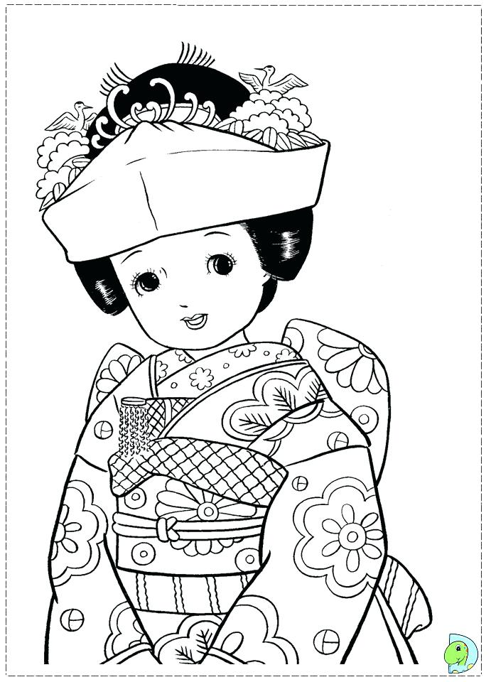 691x960 Japan Coloring Pages Landscape With Lotus And Fish Outline Drawing