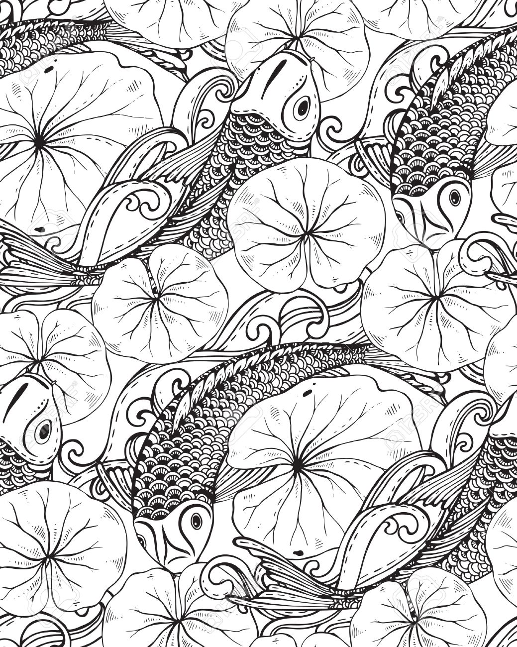1039x1300 Seamless Vector Pattern With Hand Drawn Koi Fish (Japanese Carp
