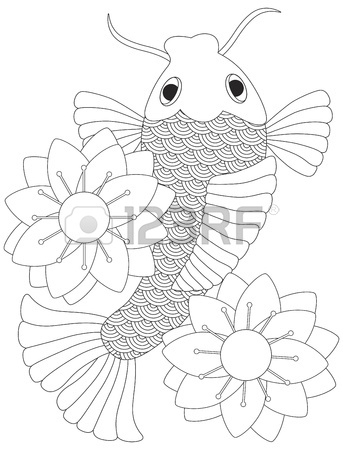 343x450 Japanese Koi Fish Or Chinese Carp With Lotus Flower Line Art