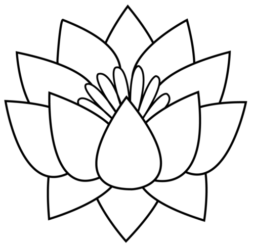 500x485 Lotus Flower Clipart Black And White
