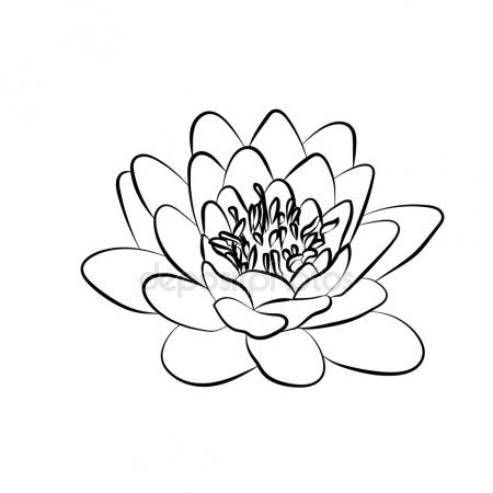 450x450 Black Stylized Image Of A Lotus Flower On A White Background