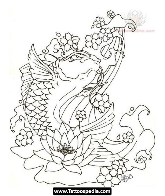 540x642 Collection Of Lotus Waves And Koi Fish Tattoo Designs