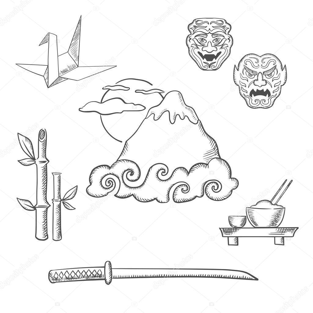 1024x1024 Japan Travel Elements In Sketch Style Stock Vector Seamartini