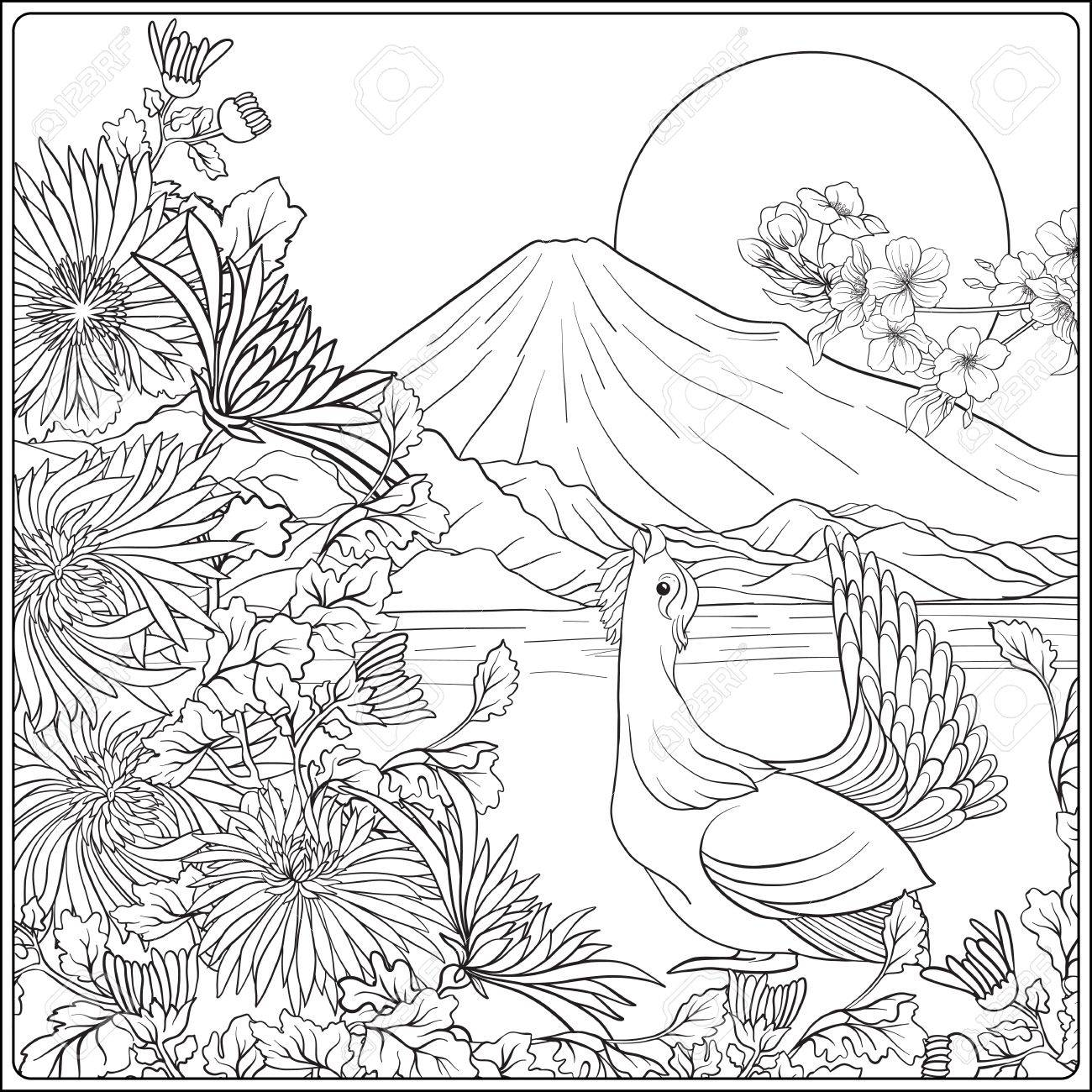 1300x1300 Japanese Landscape With Mount Fuji Tradition Flowers